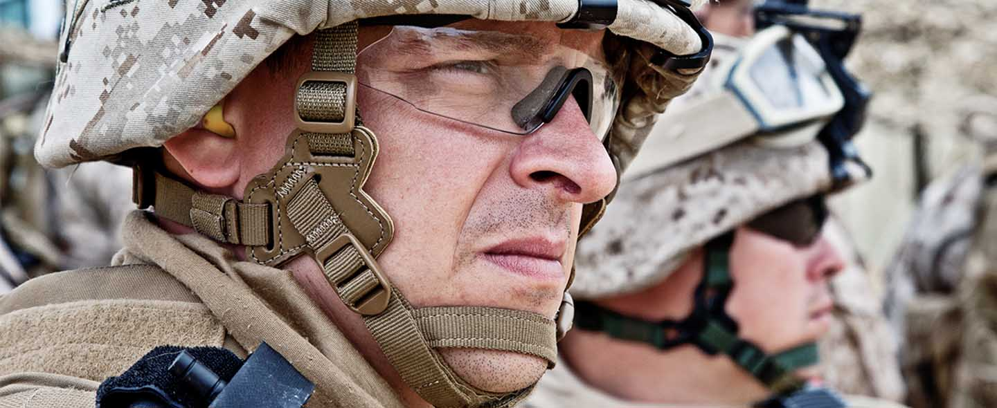 Army official with hearing support
